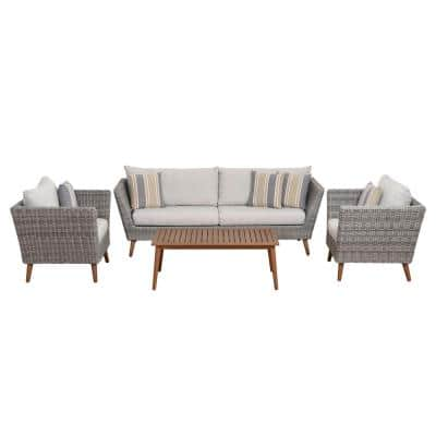 Belize 4-Piece Synthetic Wicker Patio Conversation Set with Light Grey Cushions