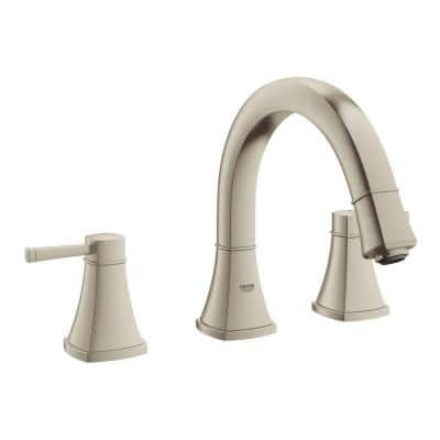 Grandera 2-Handle Deck-Mount Roman Bathtub Faucet in Brushed Nickel InfinityFinish