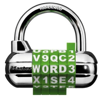 Set-Your-Own 5-Dial Word/Number Combination Padlock