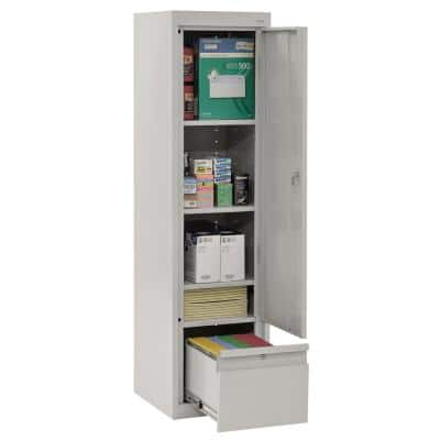 System Series 17 in. W x 64 in. H x 18 in. D Dove Gray Single Door Storage Cabinet with File Drawer