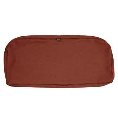 Montlake FadeSafe 41 in. W x 18 in. D x 3 in. H Patio Bench/Settee Cushion Slip Cover in Heather Henna Red