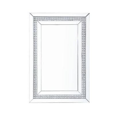 Lotus 47 in. x 2 in.  Glam Rectangle Framed Mirrored and Faux Crystals Inlay Beveled Glass Decorative Mirror
