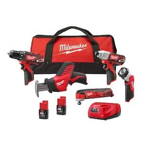 Milwaukee M12 12-Volt Li-Ion Combo Kit 5-Tool w/Two Batteries Deals