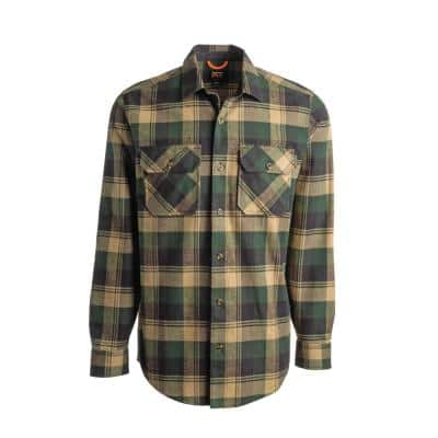 Woodfort Men's L Forest Big Rock Canyon Plaid Heavy Weight Flannel Button Down Work Shirt