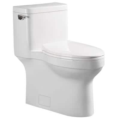 Glenwynn 12 in. Skirted 1-Piece 1.28/ 4.8 GPF Single Flush Elongated Toilet in White, Seat Included