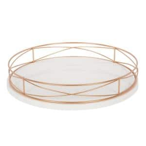 Mendel White/Rose Gold Decorative Tray