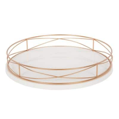 Mendel White/Rose Gold Decorative Tray