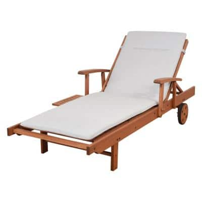 Iverson Wood Outdoor Chaise Lounge with Light Grey Cushions