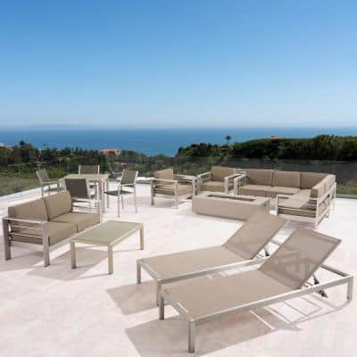 Cape Coral Silver 16-Piece Aluminum Patio Fire Pit Sectional Seating Set with Khaki Cushions