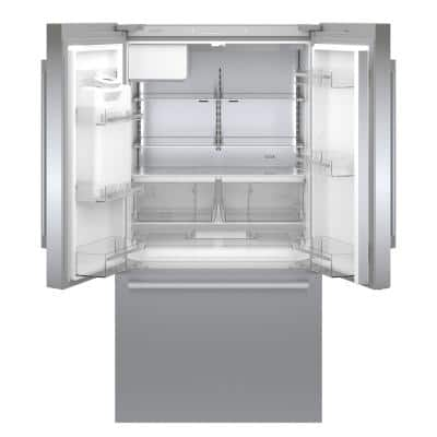 500 36 in. 21.6 cu. ft. French Door Refrigerator in Stainless Steel with Fastest Ice Maker, Counter Depth