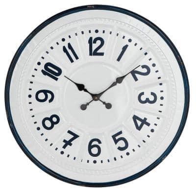 Large Round Farmhouse Style Dark Teal and White Metal Wall Clock 27 in. x 27 in.