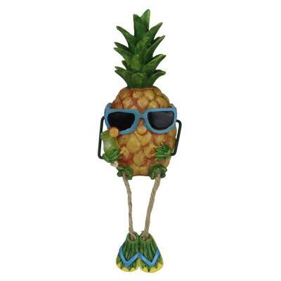 9 in. Summertime Dangling Leg Pineapple Boy Garden Statue