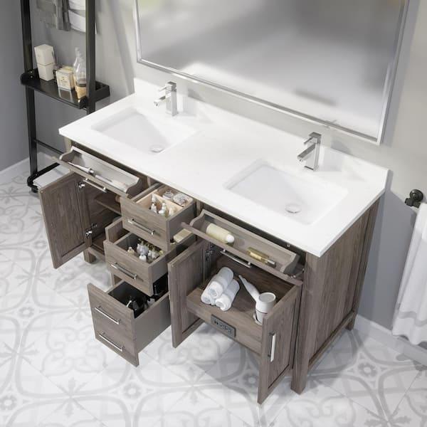 Art Bathe Kali 60 In W X 22 D Bath, Bathroom Sink Top Organizer