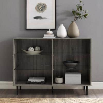 34 in. Slate Gray Wood 6-shelf Standard Bookcase with Adjustable Shelves