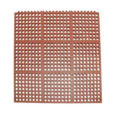 Dura-Chef Interlock 5/8 in. x 36 in. x 36 in. Red Kitchen Mat (2-Pack)