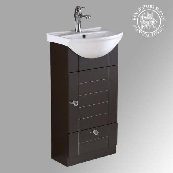 Renovators Supply Manufacturing Mahayla 17 3 4 In Bathroom Vanity Sink Combo In Dark Oak With Ceramic Sink In White With Faucet Drain And Overflow 21954 The Home Depot