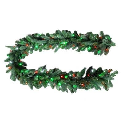 9 ft. Christmas Bright Pre-lit LED Artificial Spruce Artificial Christmas Garland with Red, Green, Cool White Lights