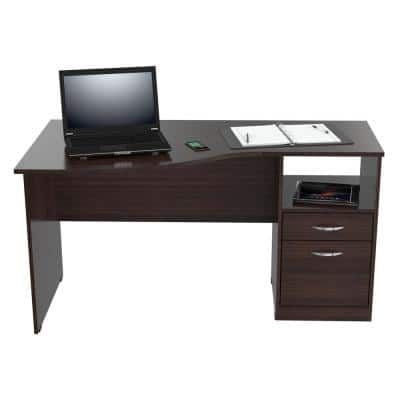 55.21 in. Espresso Wengue Rectangular 2 -Drawer Computer Desk with File Storage