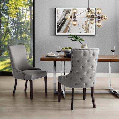 Piper Light Grey Linen Nailhead Armless Dining Chair (Set of 2)