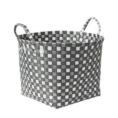 10.5 in. x 6 in. H PP Resin Weave Basket in Blue and White