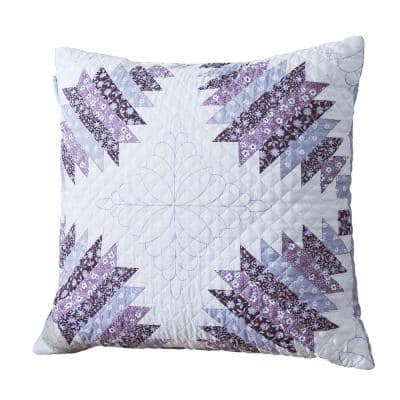 Cathedral Window Plum Quilted 18 in. x 18 in. Throw Pillow
