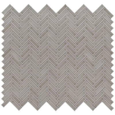Dove Gray Herringbone 11.3 in. x 12.56 in. x 8mm Glossy Ceramic Mesh-Mounted Mosaic Tile (9.86 sq. ft. / case)