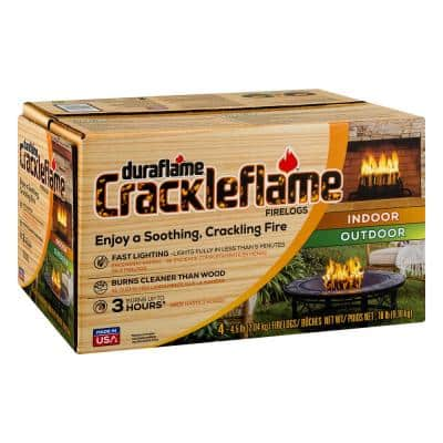 Crackleflame 4.5 lb. Indoor/Outdoor Firelogs (4-Pack), 3 Hour Burn