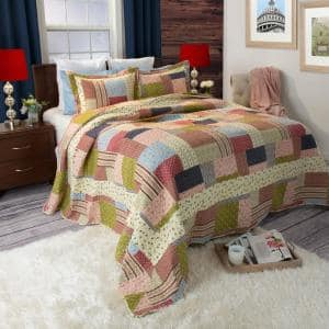 Savannah Multicolored Striped and Plaid Queen Quilt