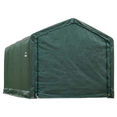 12 ft. W x 20 ft. D x 11 ft. H ShelterTube Steel and Polyethylene Garage without Floor in Green with Waterproof Fabric