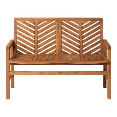 Brown Acacia Wood Outdoor Loveseat with Chevron Design