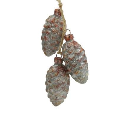 7 in. Distressed Silver and Rust Glittery Pine Cones Christmas Ornament