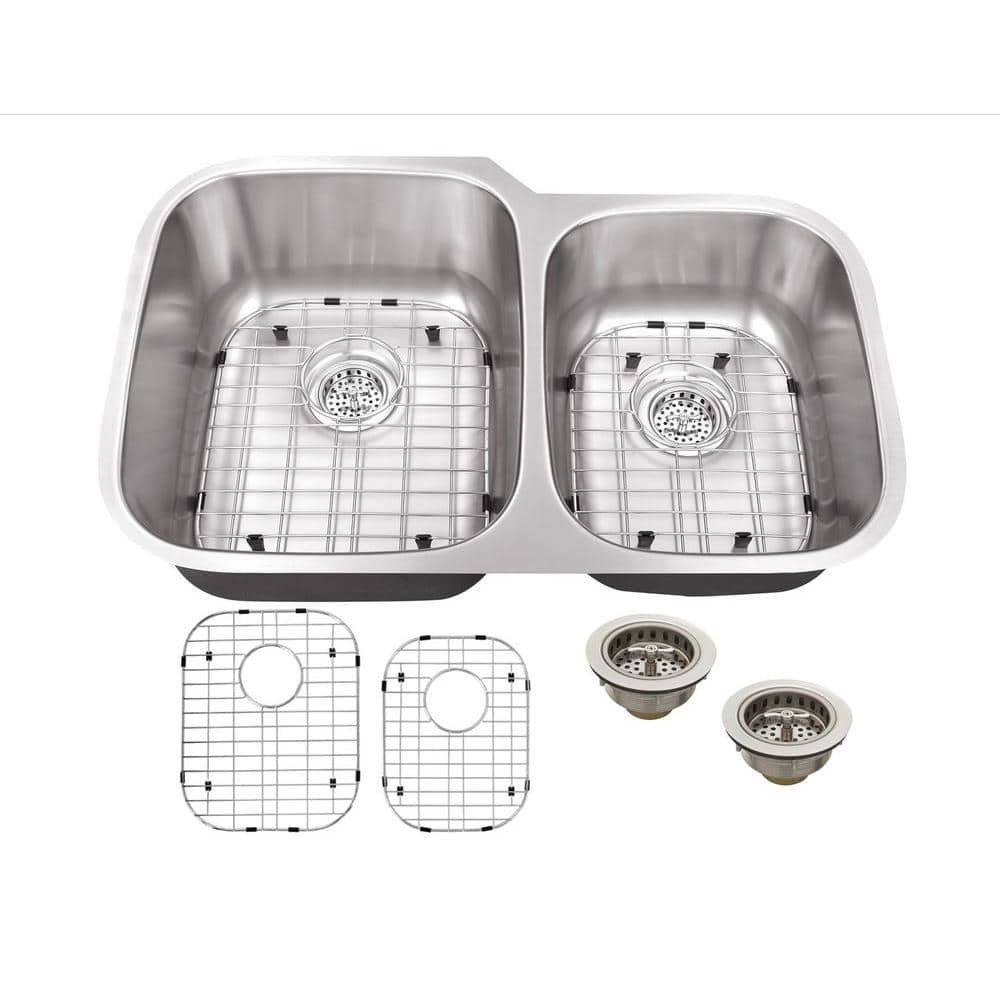 Schon All-in-One Undermount 16-Gauge Stainless Steel 32 in. 0-Hole 60/40 Double Bowl Kitchen Sink
