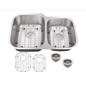 All-in-One Undermount 16-Gauge Stainless Steel 32 in. 0-Hole 60/40 Double Bowl Kitchen Sink