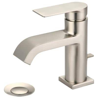 i4 Single Hole Single-Handle Bathroom Faucet with 50/50 Drain in Brushed Nickel