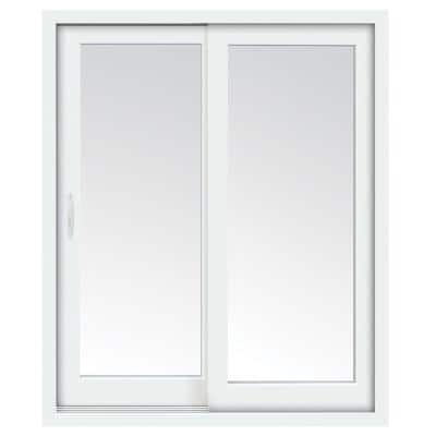 59 in. x 80 in. Glacier White Vinyl Left-Hand Low-E Sliding Patio Door with Screen, Handle Set and Nailing Fin