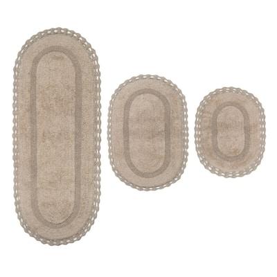 Hampton Crochet Linen 17 in. x 24 in. / 21 in. x 34 in. / 21 in. x 54 in. Cotton Bathmat Set