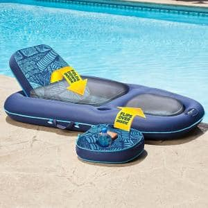 Campania Ultimate Teal Hibiscus 2-in-1 Pool Float Lounge and Caddy