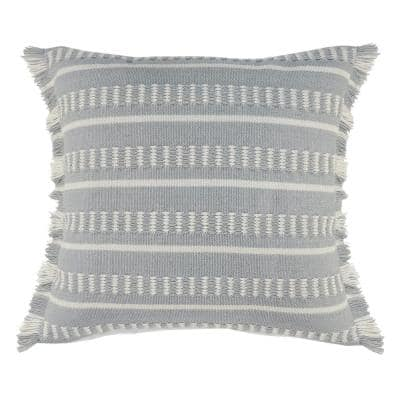 Dash Blue/White Square Striped Outdoor Throw Pillow with Fringe