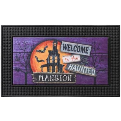 LED Halloween Moonlit Mansion 18 in. x 30 in. Rubber Light and Sound Door Mat