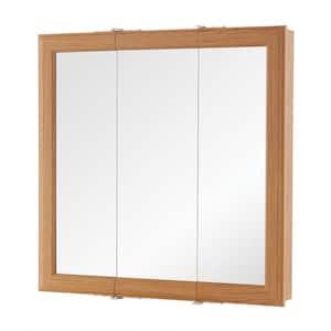 24 in. W x 24-3/16 in. H Fog Free Framed Surface-Mount Tri-View Bathroom Medicine Cabinet in Oak