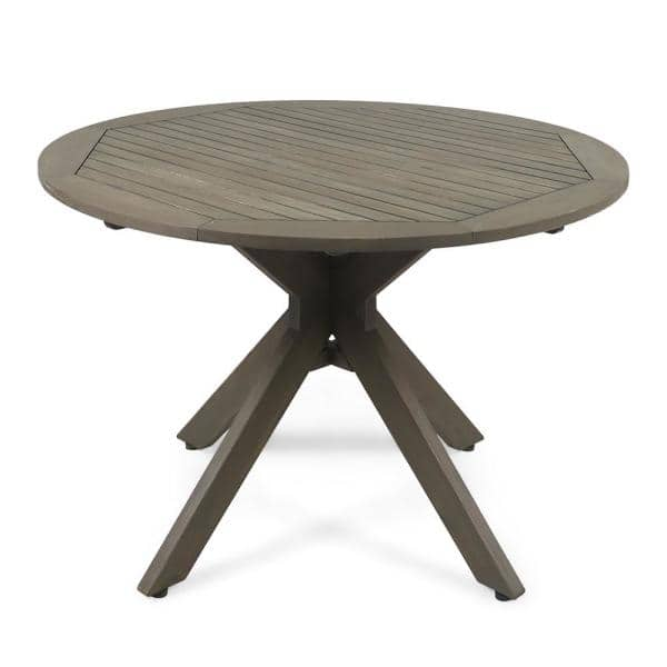 Noble House Stamford Gray Round Wood, Wooden Outdoor Tables