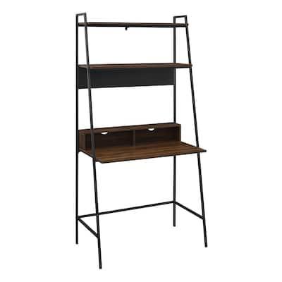 36 in. Dark Walnut Modern Wood Ladder Computer Desk