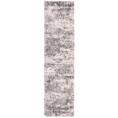 Berber Shag Gray/Cream 2 ft. x 14 ft. Runner Rug