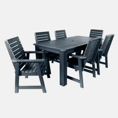 Weatherly Federal Blue 7-Piece Plastic Rectangular Outdoor Dining Set