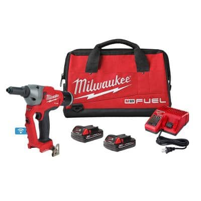 M18 FUEL ONE-KEY 18-Volt Lithium-Ion Cordless Rivet Tool Kit with (2) 2.0Ah Batteries