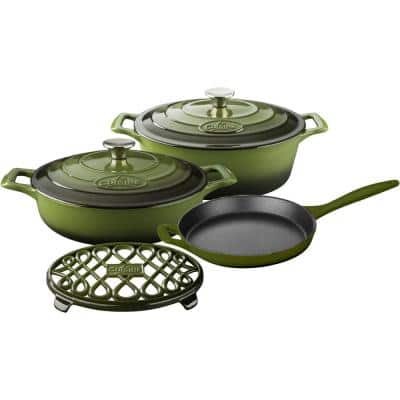 PRO Range 6-Piece Cast Iron Cookware Set in Olive Green