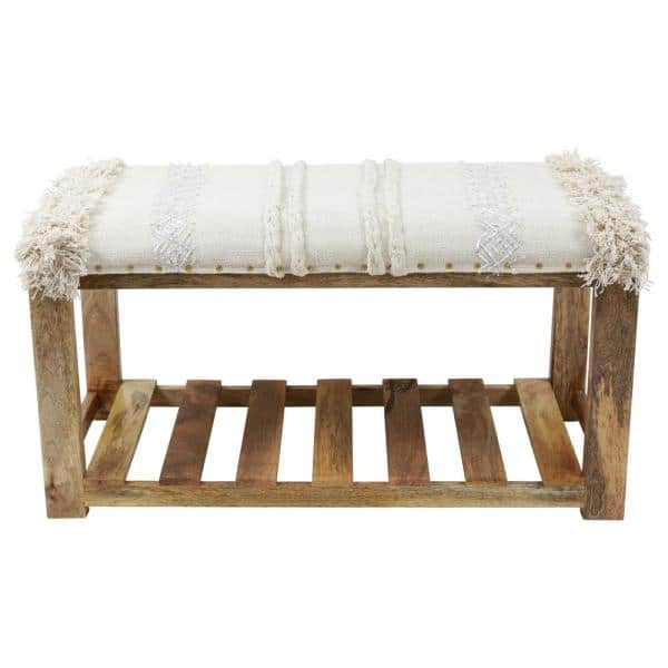 Decor Therapy Ace Natural Upholstered Woven Bench Fr8838 The Home Depot