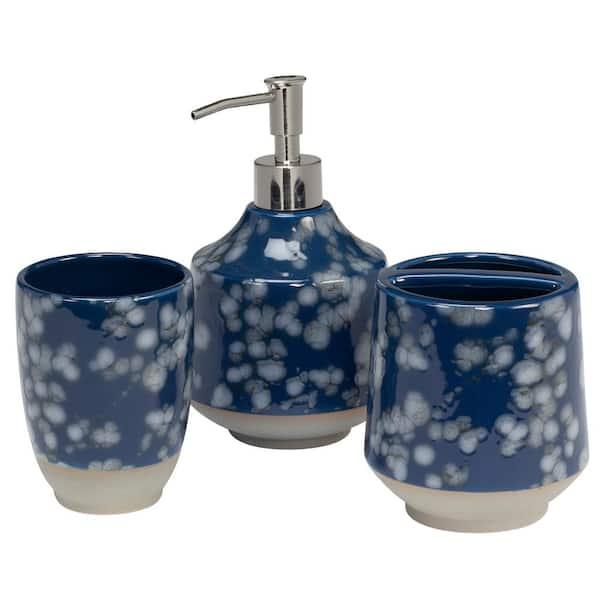 Creative Bath Indigo Blossoms 3 Piece, Blue And White Bathroom Accessories