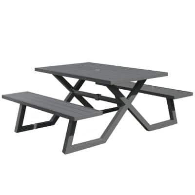 5 ft. Charcoal Aluminum Metal Rectangle Outdoor Picnic Table