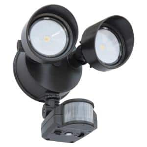 Contractor Select OLF 25-Watt 180 Deg. Bronze Motion Activated Outdoor Integrated LED 2-Head Flood Light
